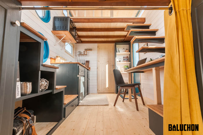 tiny house baluchon 1 - Stunning tiny house features inverted loft space with lounge upstairs and kids' room on main floor
