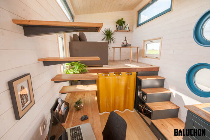 tiny house baluchon 18 - Stunning tiny house features inverted loft space with lounge upstairs and kids' room on main floor