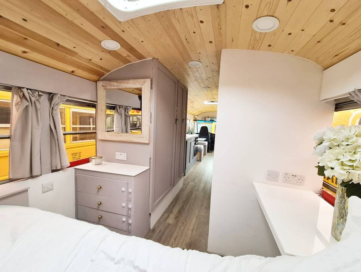 skoolie win 1 - British couple turned school bus into home complete with mini cinema - they are now raffling it off