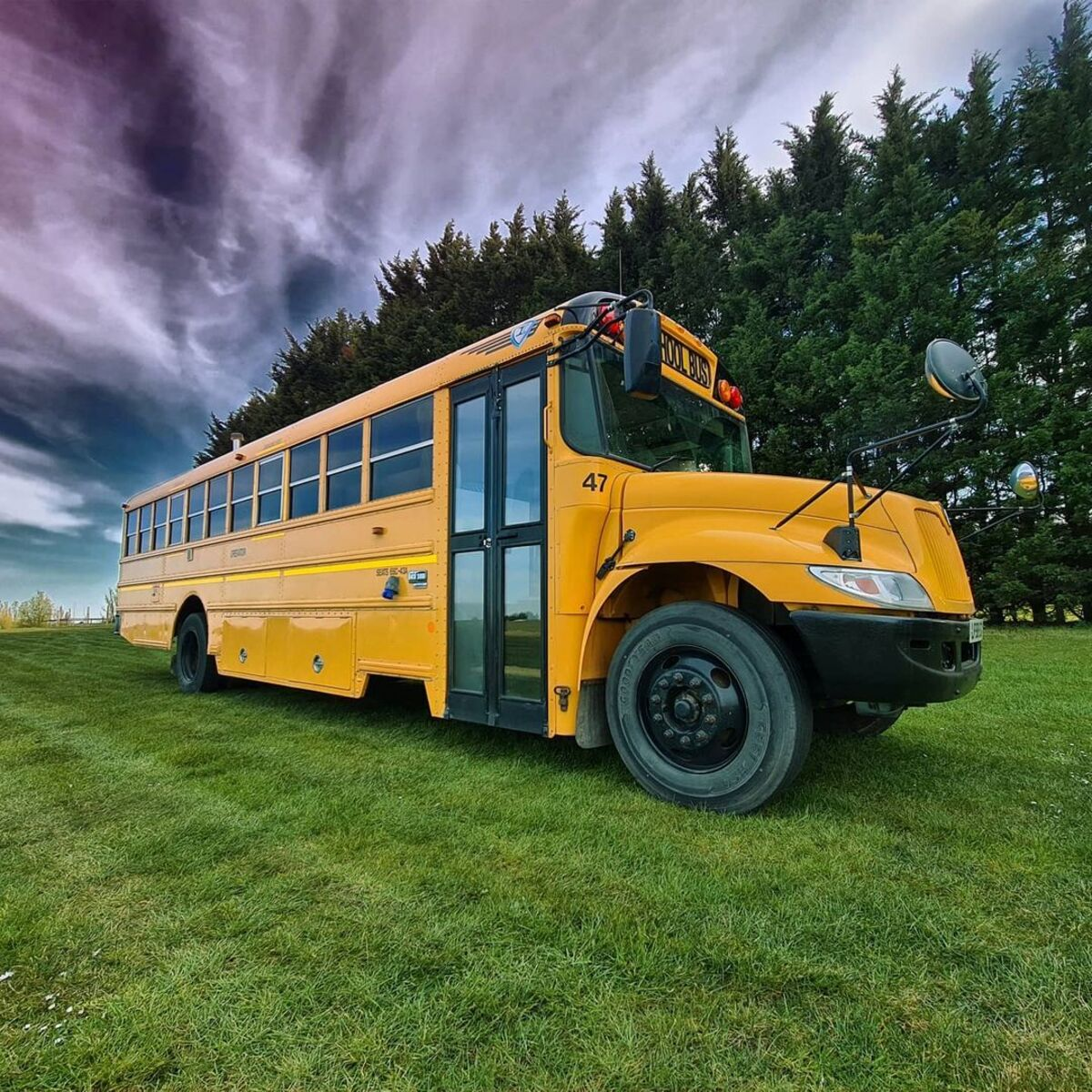 skoolie win 12 - British couple turned school bus into home complete with mini cinema - they are now raffling it off