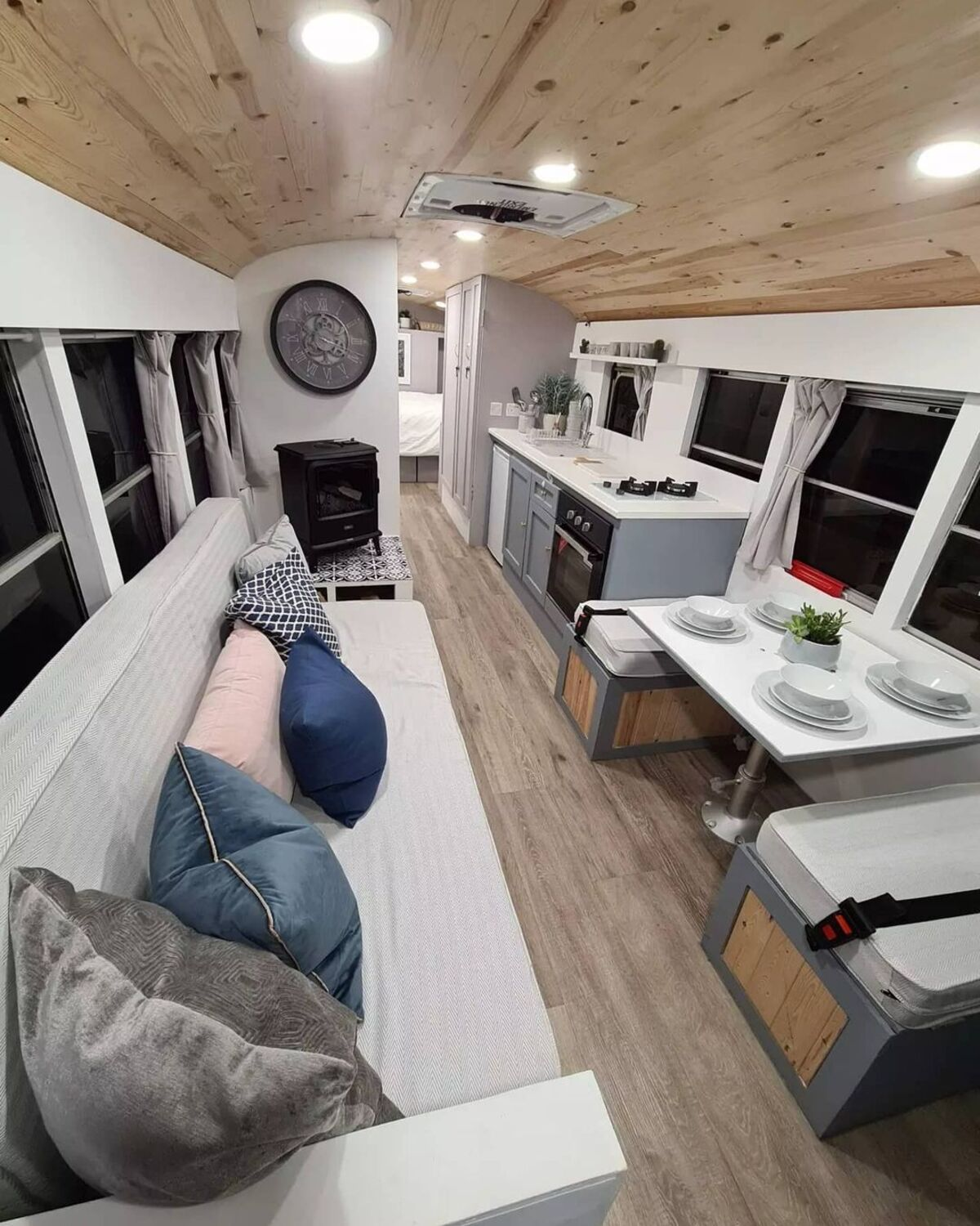 skoolie win 19 - British couple turned school bus into home complete with mini cinema - they are now raffling it off