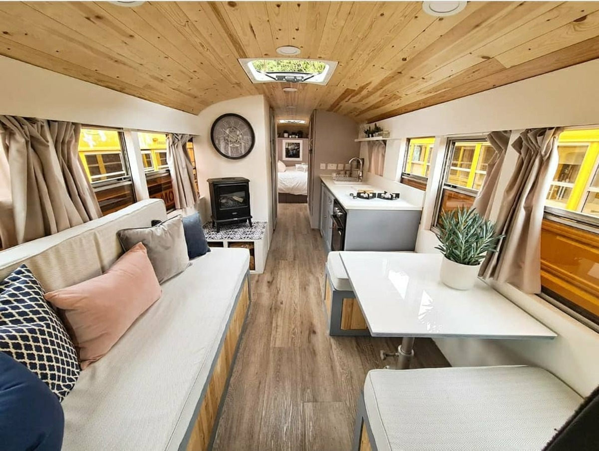 skoolie win 2 - British couple turned school bus into home complete with mini cinema - they are now raffling it off