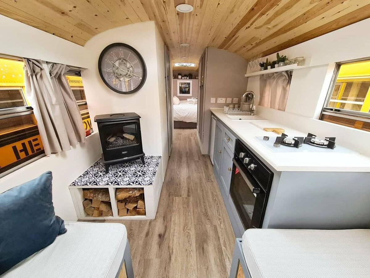 skoolie win 5 - British couple turned school bus into home complete with mini cinema - they are now raffling it off