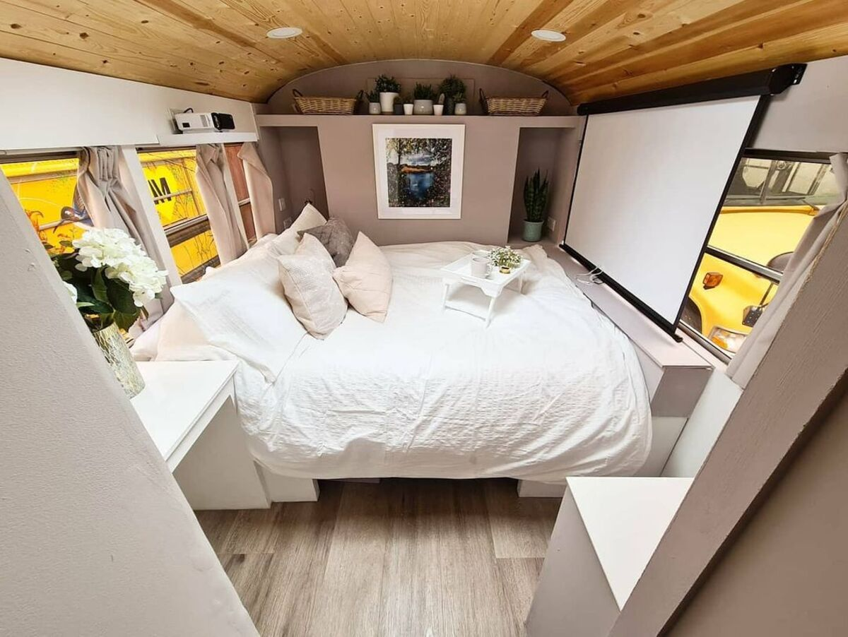 skoolie win 8 - British couple turned school bus into home complete with mini cinema - they are now raffling it off