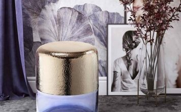 gold metal and purple glass side table