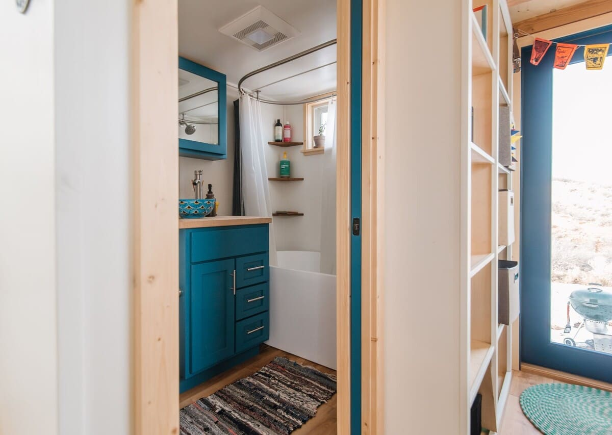 tiny house Bath 1 1 - This luxurious tiny house does not hold back on function - it even has a mudroom
