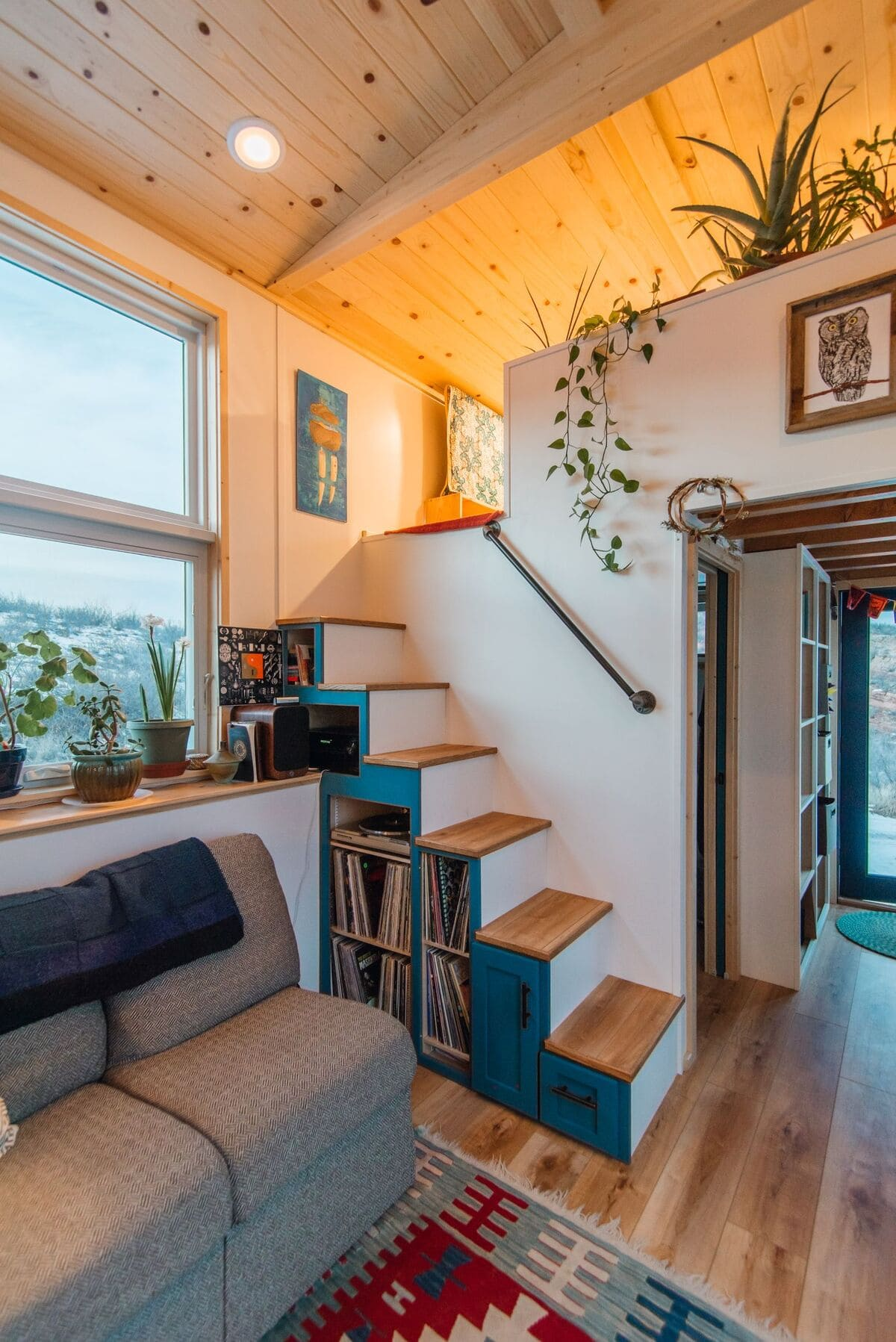 tiny house Den Loft 1 Path Stairs 1 - This luxurious tiny house does not hold back on function - it even has a mudroom