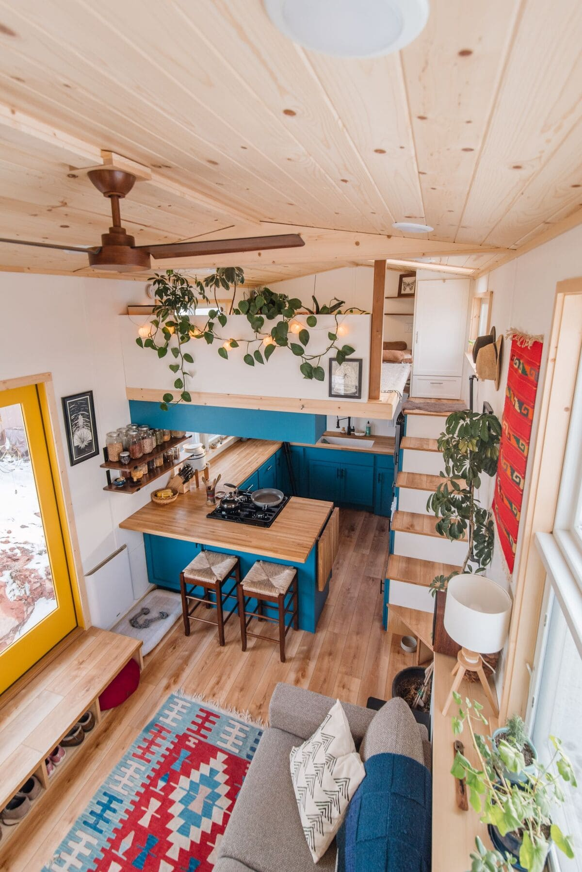 tiny house Den Loft 2 View From Loft 1 - This luxurious tiny house does not hold back on function - it even has a mudroom