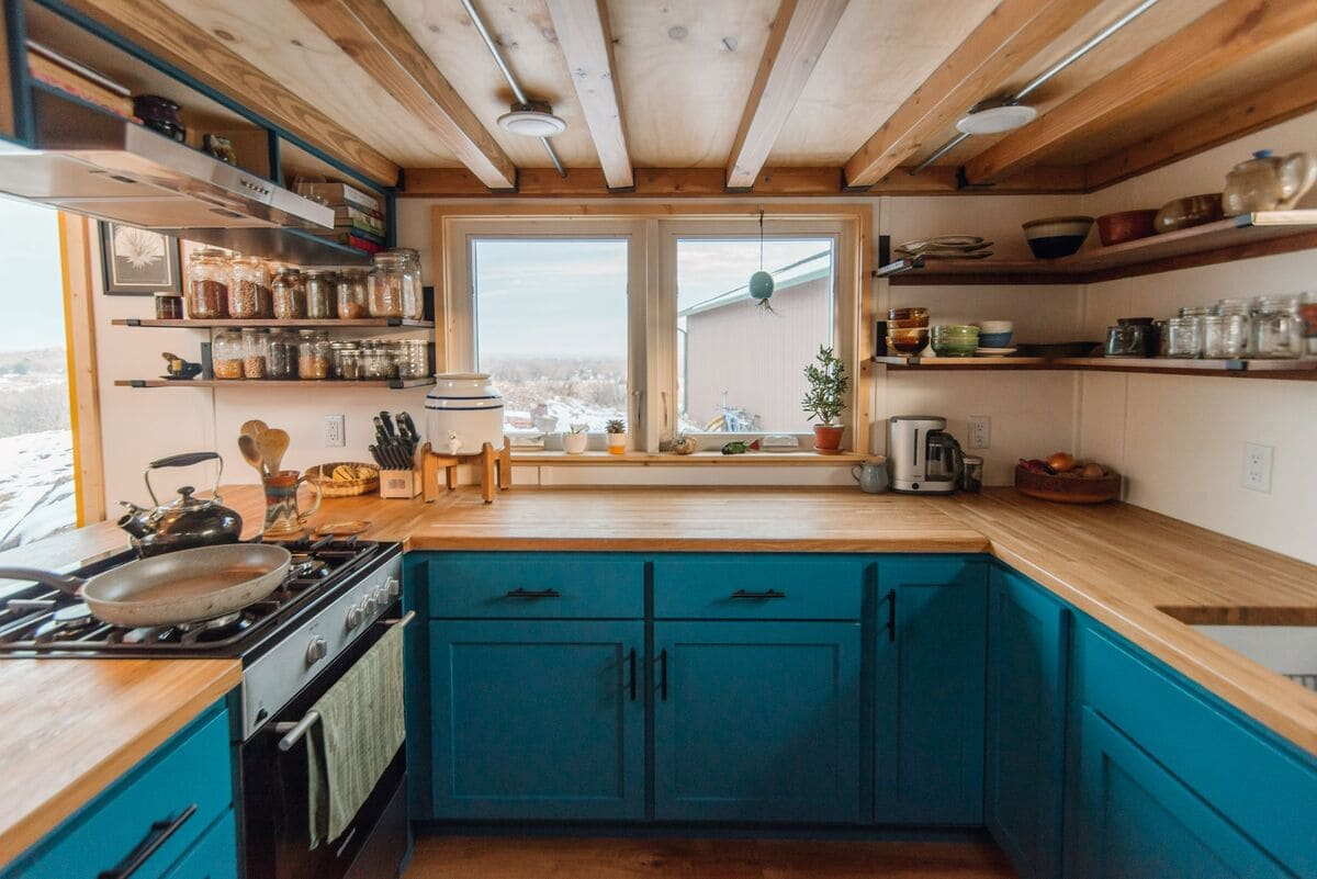 tiny house Kitchen 10 Window Closeup - This luxurious tiny house does not hold back on function - it even has a mudroom