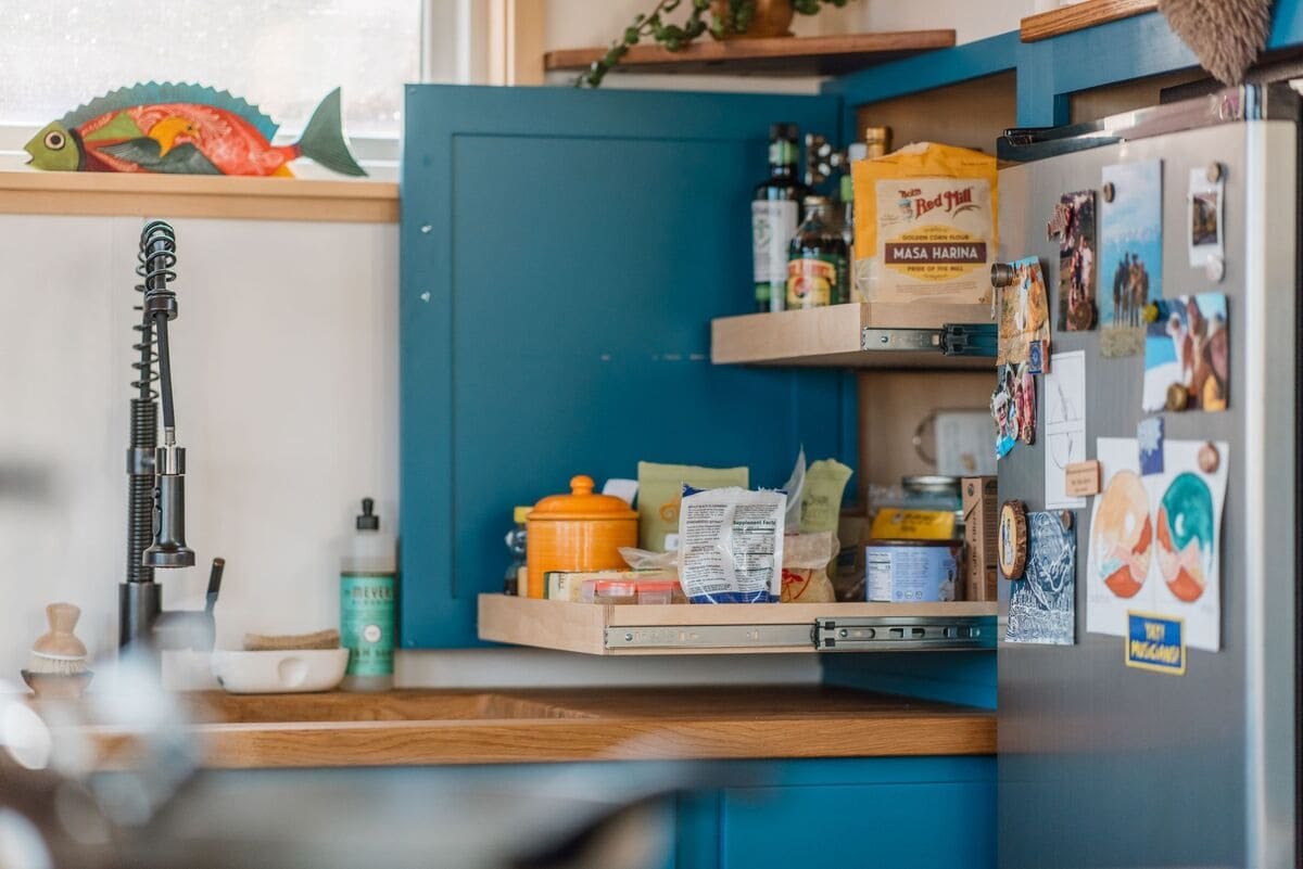 tiny house Kitchen 4 Closeup - This luxurious tiny house does not hold back on function - it even has a mudroom
