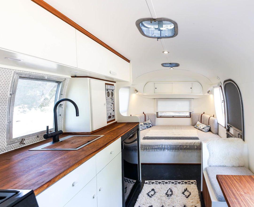 Airstream trailer Haus 13 - Interior designer turned heirloom Airstream into delightful home